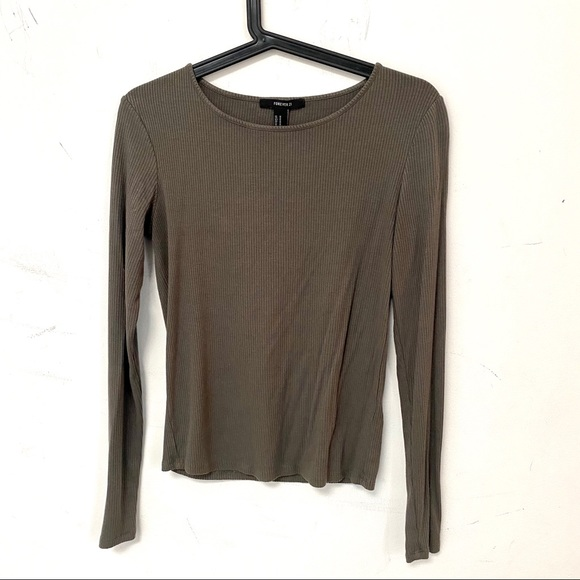 Forever 21 robbed green grey long sleeve shirt